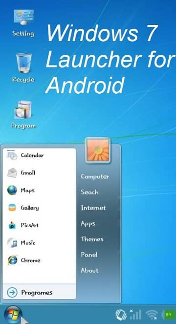 Windows 7 Launcher apk Android | Windows Launcher for Android Phone